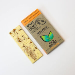 organic cbd peach hazelnut white chocolate bar 60mg