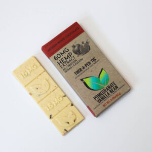 organic cbd pomegranate vanilla bean white chocolate bar 60mg