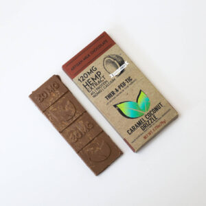 organic cbd caramel coconut drizzle milk chocolate bar 120mg extra strength
