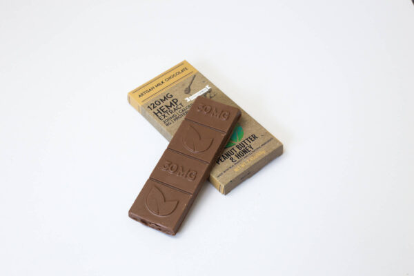 organic cbd peanut butter and honey milk chocolate bar 120mg extra strength