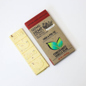 organic cbd pomegranate vanilla bean white chocolate bar 120mg extra strength