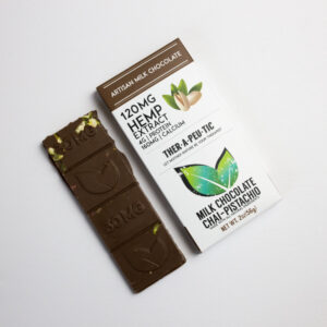 organic cbd thc free chai pistachio milk chocolate bar 120mg extra strength