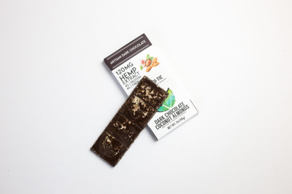 organic cbd thc free coconut almonds dark chocolate bar 120mg extra strength