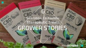 packaged cbd chocolate bars fanned out on a table. text: sam uddin, co-founder therapeutic treats grower stories